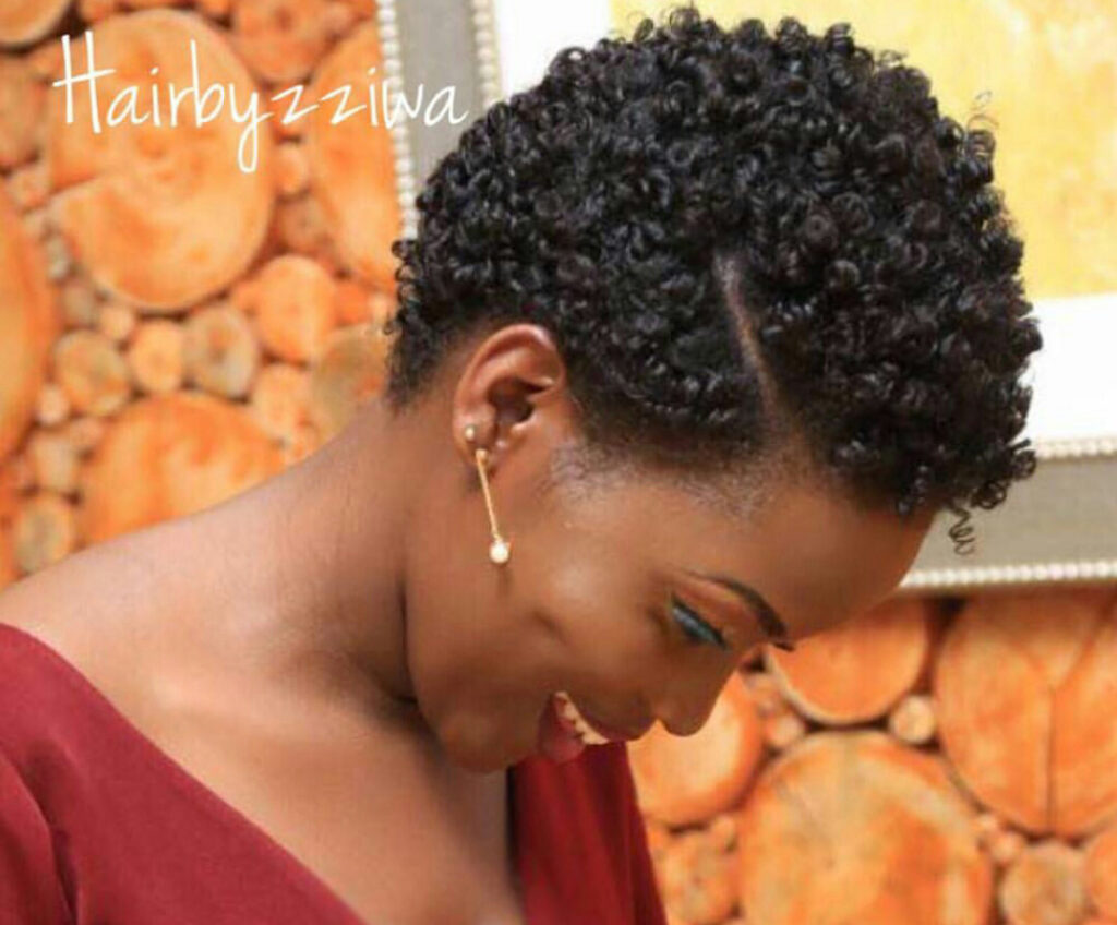 Lady with perm rod set hairstyle on natural hair