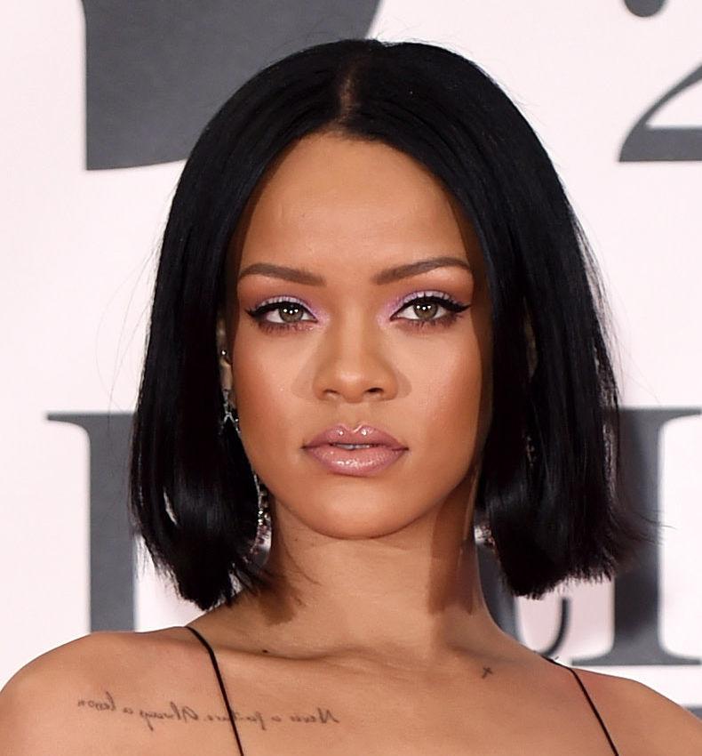 Rihanna with a short blunt cut bob